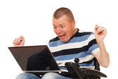 Disabled man with digital Notebook — Stock Photo