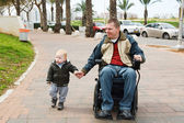 Father walking with son — Stock Photo