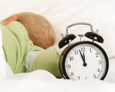 Wake up with alarm clock — Stock Photo