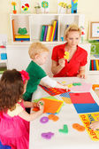 Preschoolers in the classroom with the teacher — Stock Photo