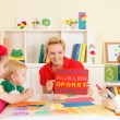 Pre-school children in the classroom with the teacher — Stock Photo #50517607