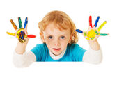 Happy child with painted hands — Stock Photo