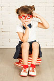 Little girl nerd — Stock Photo