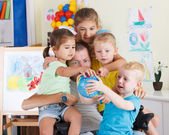 Dad play with children — Stock Photo