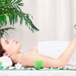 Woman waiting for massage in salon — Stock Photo #13922226