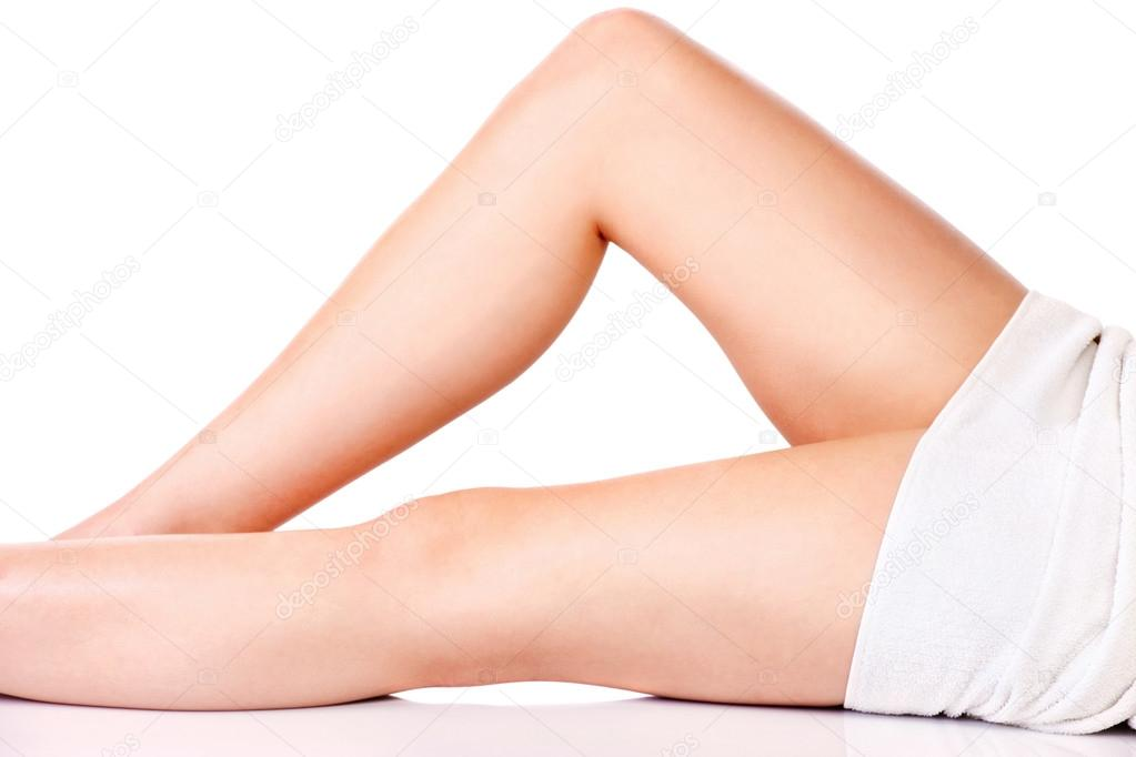 Legs of young woman, isolate on white background. Health concept — Stock Photo #16223923