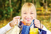 Woman with bags after shopping — Stock Photo