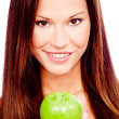 Happy woman with green apple — Stock Photo