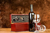 Wine bottle and two wine glasses — Stock Photo