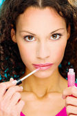Lipstick on her lips — Stock Photo
