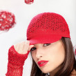 Woman with red hat — Stock Photo