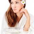 Aromatherapy bowl and brunette woman — Stock Photo