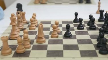 In a chess game black pawn take white pawn — Stock Video