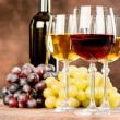 Wine cups and grape — Stock Photo