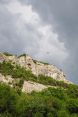 Cloudy weather over Crimea Mountains — Stock Photo