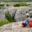 Hiking man having rest — Stock Photo