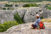 Hiking man having rest — Stock Photo