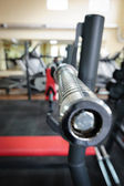 Empty barbell bar waiting to workout — 图库照片