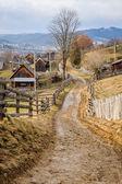 Dirty road in Carpathian village — Stock Photo