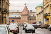 Street view of Lviv with Armory, Ukraine — Stock Photo