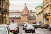 Street view of Lviv with Armory, Ukraine — Stock Photo