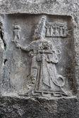 God Sharruma and King Tudhaliya, rock carving in Yazikaya — Stock Photo