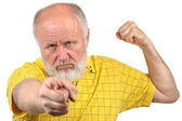 Menacing senior bald man — Stock Photo