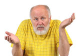 Senior bald man gestures disturbance — Stock Photo
