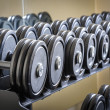 Row of barbells — Stock Photo #41570145