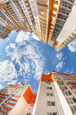 Fisheye shot of new resitential buildings — Stock Photo