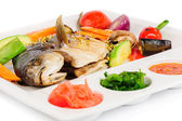 Fried wish with grilled vegetables and sauces — Stock Photo