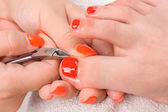 Pedicure process macro closeup — Stock Photo