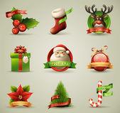 рождественская коллекция значков/объекты. — Cтоковый вектор