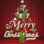 Very Merry Christmas, creative Christmas tree. — Stock Vector