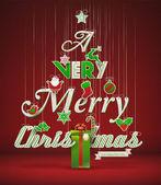 Velmi veselé vánoce, kreativní vánoční stromeček. — Stock vektor