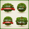 Christmas Label different languages — Stock Vector