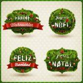Christmas Label different languages — Vetor de Stock