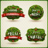 Idiomas de la etiqueta de navidad — Vector de stock