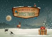 Vacanze invernali paesaggio con cartello in legno — Vettoriale Stock