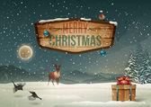 Winter holidays landscape with wooden sign — Stockvector
