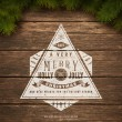 Vintage typography sign and Christmas fir tree — ストックベクタ #15531719