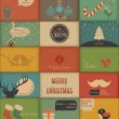 Stok Vektör: Collection of retro Holidays cards