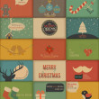 Collection of retro Holidays cards — Stock Vector