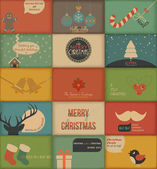 Collection of retro Holidays cards — Vecteur
