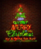 Christmas neon sign against red wall — Stockvector