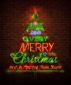 Vánoční neon podepsat červené zdi — Stock vektor