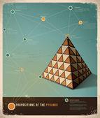 Design retrò modello infografica; proposizioni della piramide — Vettoriale Stock