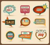 Il nuovo retrò bolle di discorso / segni di raccolta — Vettoriale Stock