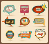 Nový retro bubliny / znaky kolekce — Stock vektor