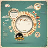 Retro web design template — Vector de stock